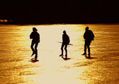 Skaters on Lake Malaren, Uppsala